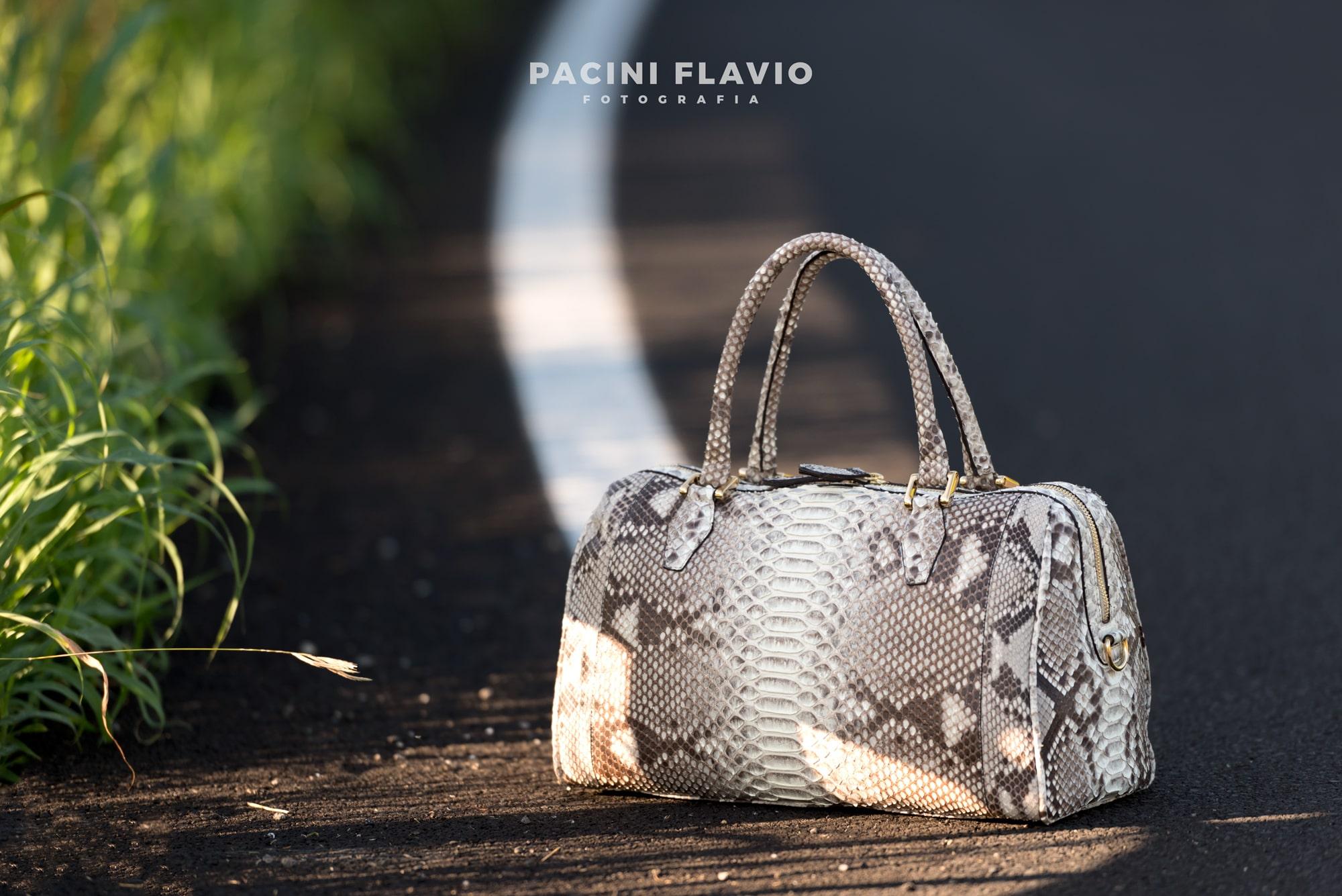 Foto fashion di borsa pitone su strada