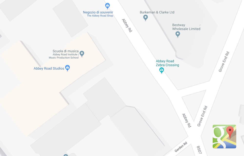 Mappa di Abbey Road a Londra
