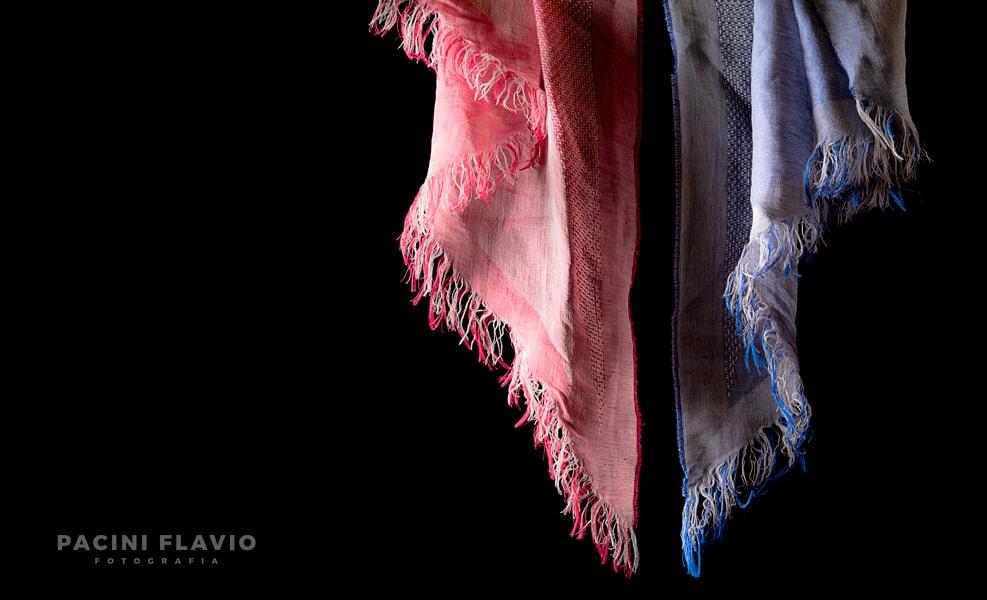 Foto sciarpa donna rosa e celeste